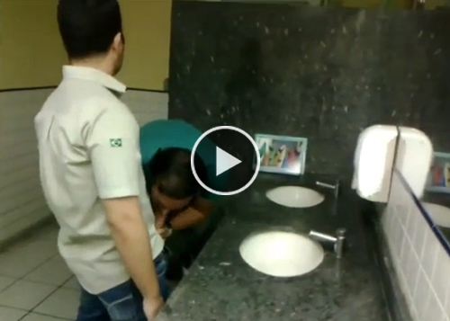 Playing on Public Toilet