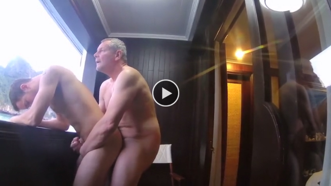 Daddy barebacks his boy on a boat