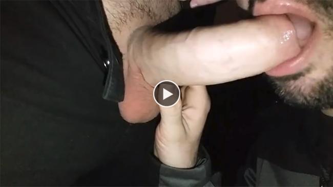 Hot uncut blowjob and cum