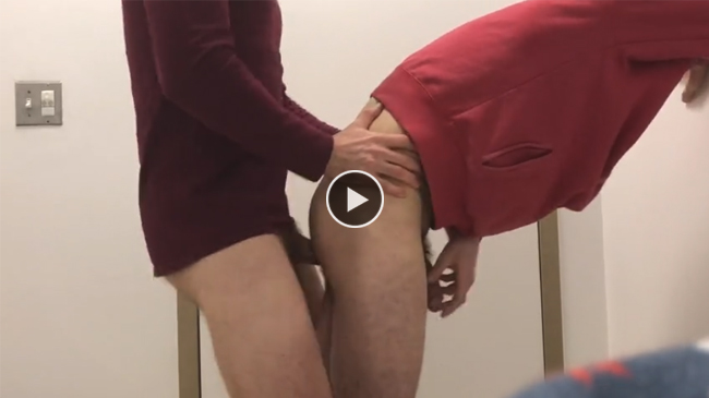 Fucking twink in a public toilet