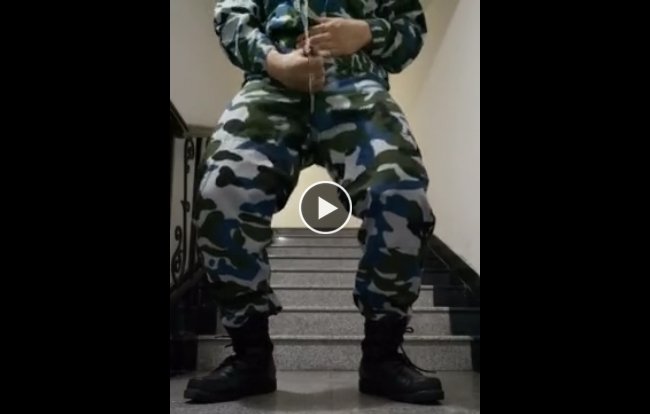 Quick wank in military uniform and boots