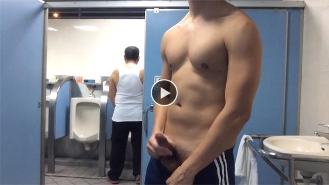 Jerk off in public toilet with door open